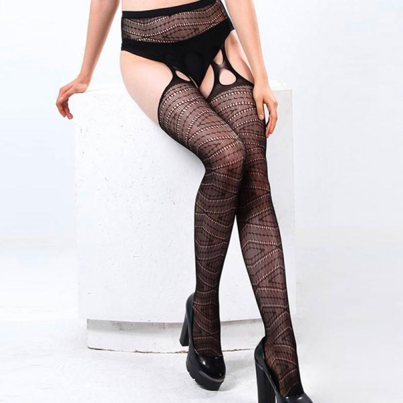 JSY 性感魚網蕾絲吊帶連褲襪