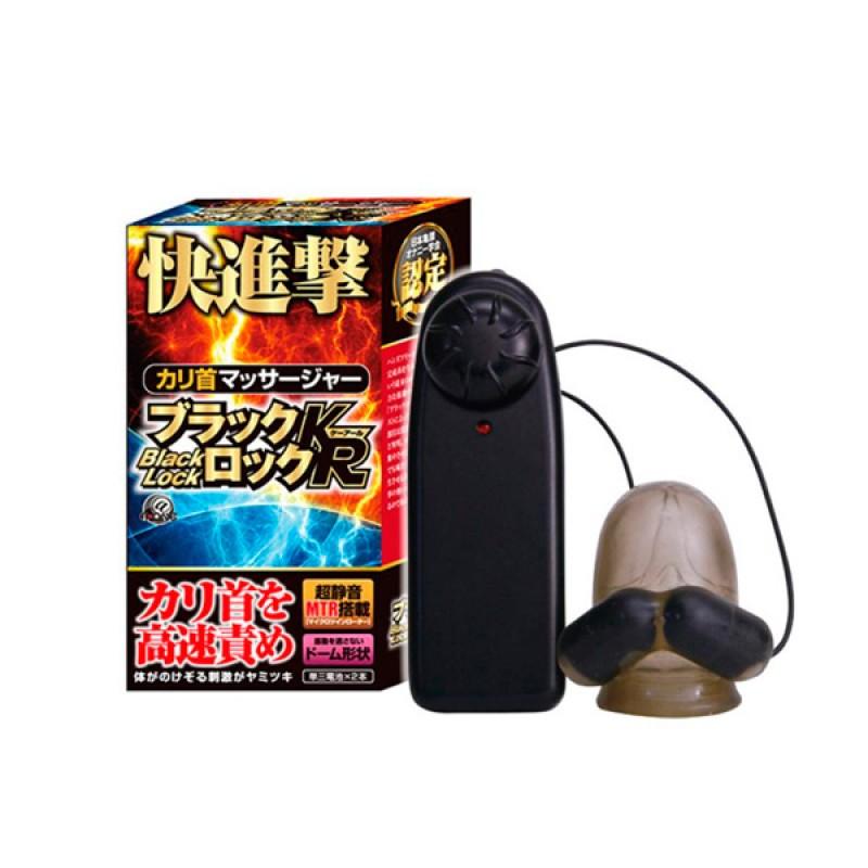 日本 A-One 龜頭震動刺激器 - 黑鎖 KR