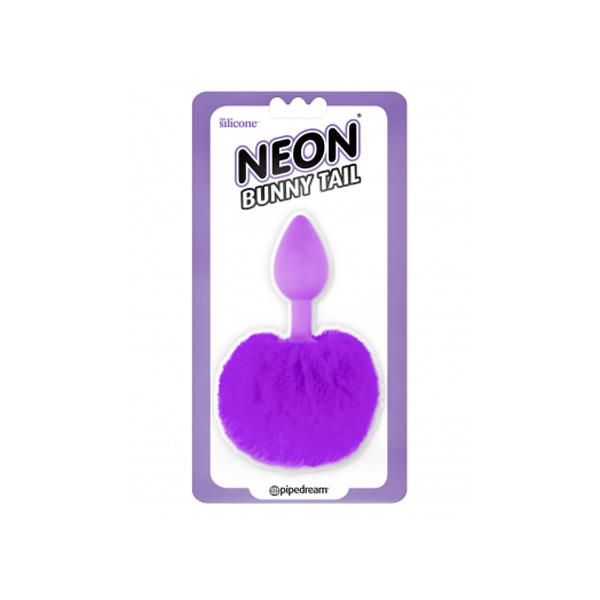 Neon Bunny Tail Butt Plug Purple