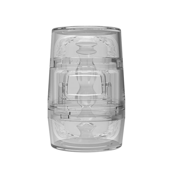 Doc Johnson Main Squeeze Pop-Off Optix ULTRASKYN™ 可擠壓式 貫通型雙頭 飛機杯 - 透明藍