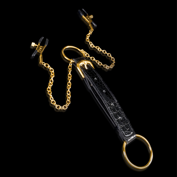 Fetish Fantasy Gold Cock Ring and Nipple Clamps