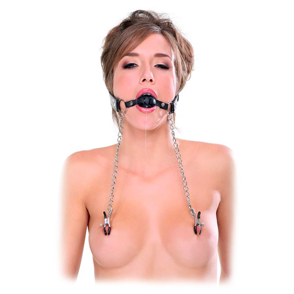 Fetish Fantasy Extreme Deluxe Ball Gag & Nipple Clamps