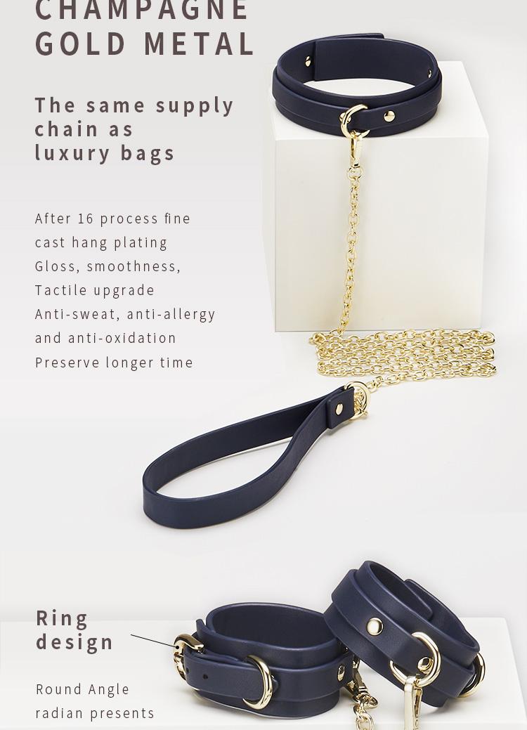 RoomFun Purplish Blue Leather Bondage Set